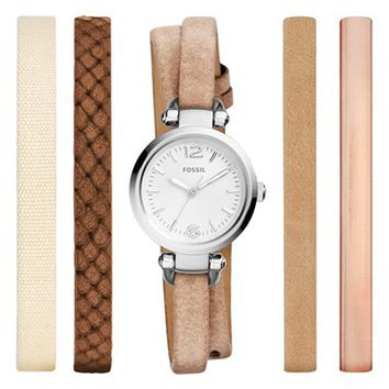 Women's Fossil 'Georgia' Round Watch & Interchangeable Strap Set, 26mm - Silver/ Multi