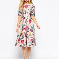 Closet Scuba Midi Skater Dress In Floral Print