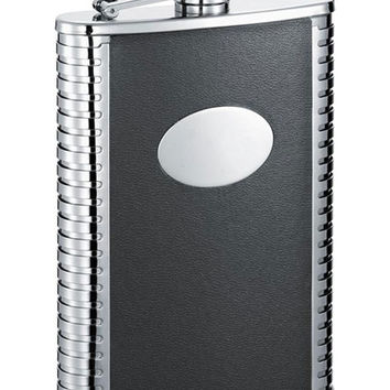Visol TuxBlack Leather 8-oz. Groomsmen Flask