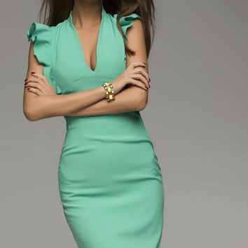 Sexy Aqua Pencil Dress,Ruffles Sleeve Dress Knee Length.