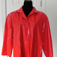 Red Vinyl Vintage Rain Coat by vintageworldrocks on Etsy