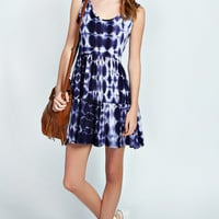 Tia Cross Back Tie Dye Skater Dress