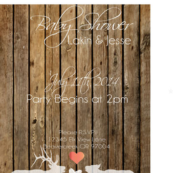 Rustic Baby Shower Invitation / baby shower / custom invitation