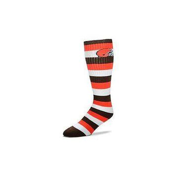 Cleveland Browns Striped Knee High Hi Tube Socks One Size Fits Most Adults