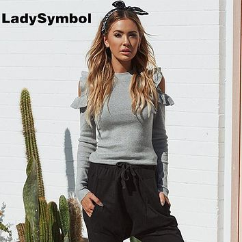 LadySymbol Winter Elegant Knitted Women Sweater Gray Pullover Autumn Off Shoulder Ruffle Tops Warm Slim Jumper Casual Pull Femme