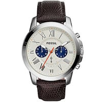 Fossil Men's Grant Leather Strap Chronograph Watch