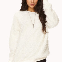 FOREVER 21 Faux Fur Sweatshirt Cream Large
