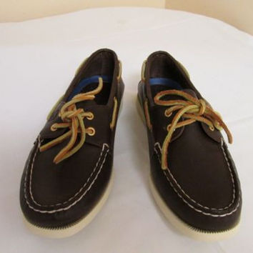 Sperry Top Sider Brown Leather Lace Up Loafers Women's 8.5