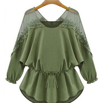 Army Green Lace-Paneled Chiffon Blouse