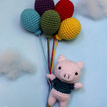 SALE: When Pigs Fly Amigurumi (Crochet Pattern) with Balloons
