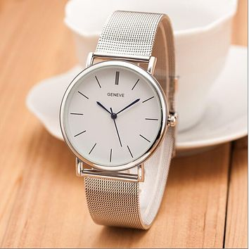 2018 New Famous Brand Silver Casual Geneva Quartz Watch Women Metal Mesh Stainless Steel Dress Watches Relogio Feminino Clock