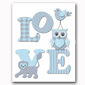 Love nursery wall art kids decoration blue owl poster blue lion artwork children animal poster baby boy room decor playroom print typography