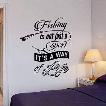 Wall Vinyl Decal Fishing Quotes Fishing It Is Way Of Life Home Interior Decor Unique Gift z4278