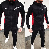 Nike Autumn and winter new fashion hooded long sleeve coat and pants two piece suit men Black