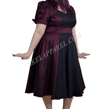 Plus Vintage 60's Queen of Hearts Two Tone Burgundy & Black Satin Party Dress