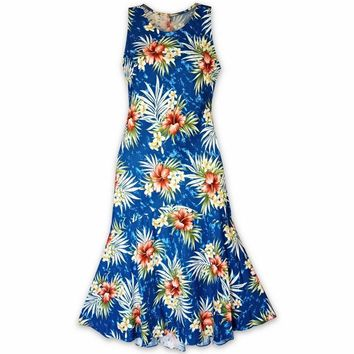 Hibiscus Isles Blue Lehua Hawaiian Dress