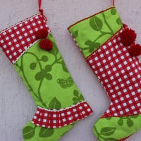 Green Christmas Stockings Red Stocking Set Ruffle Stocking READY to Shipping Chenille Stocking Handmade EXPRESS SHIPPING