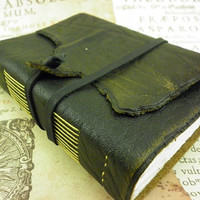 Leather Journal/Notebook, Diary Old Style, with white unlinied paper, One Of A Kind, Leather Bookmark Gift, Ready to Ship