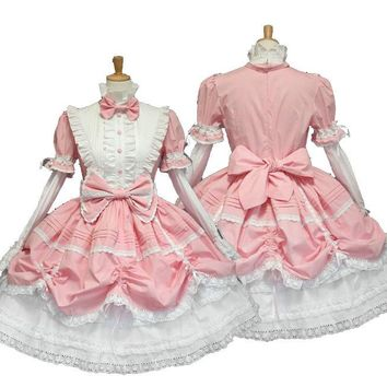 high quality Sexy cotton lace Maid Costume lolita Fancy Dress Halloween cosplay,princess dress party wear free shipping