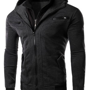 Multi-Zipper Patch Pocket Hooded Long Sleeves Hoodie