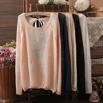 Hot sale NEW BRAND Sweater Women bowknot Large size Sweaters Loose long sleeves Knitted Pullover with Sequined 6 Colours