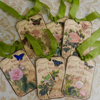 Butterflies Roses Gift Tags Shabby Chic Gift Tags Set 6 Handmade