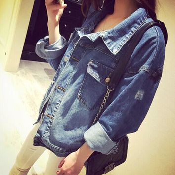 High Quality Handsome Punk Female Small Round Collar Denim Jacket Vintage Women Autumn Spring Jacket 2017 Fashion