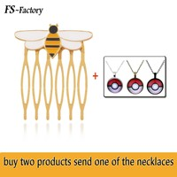 Miraculous Ladybug Queen Bee Gold Hair Comb Cat Noir Stud Earrings for Women Men Cosplay Jewelry