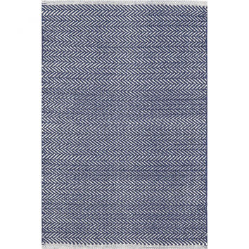 Cotton Herringbone Rug in Indigo