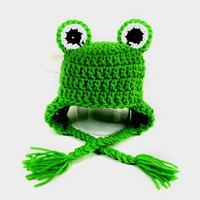 Bright Green Frog Hat Knit Crochet Baby Newborn Toddler Adult Beanie Halloween Hat Froggy