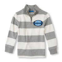 Long Sleeve Striped Mock Zip Pullover | The Children's Place
