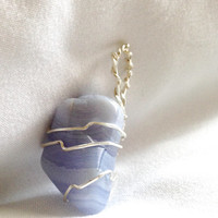 Blue Lace Agate silver wire-wrapped crystal pendant