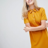 Bershka ribbed collared dress in mustard at asos.com