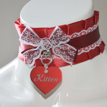 Kitten play collar - Tagged kitten - sexy red - kittenplay bdsm kink choker with engraved tag - adult kitten gear costume ceremony necklace