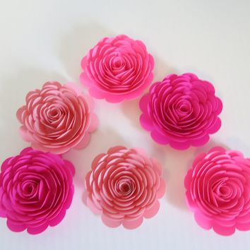 "Shades of Pink Roses, set of 6, big 3"" paper flowers, Princess theme birthday party decor, baby nursery wall art, girl shower decorations"