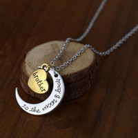 Love Brother Crescent Pendant Necklace
