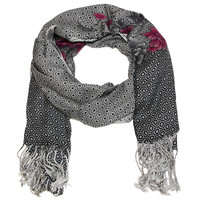 Flower Printed Oversized Wrap Scarf Grays