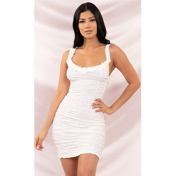 Feel The Ruche White Ruched Ruffled Sleeveless Scoop Neck Bodycon Mini Dress