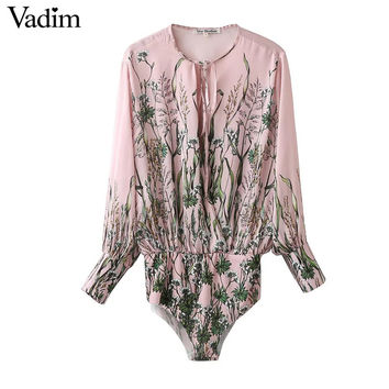 Women vintage floral tie shirt jumpsuit long sleeve elastic waist retro blouse fashion streetwear casual tops blusas LT1253