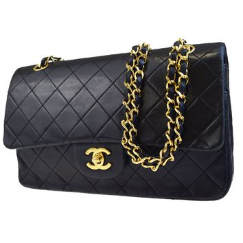 Auth CHANEL CC Matelasse Double Flap Quilted Chain Shoulder Bag Leather 676BC238