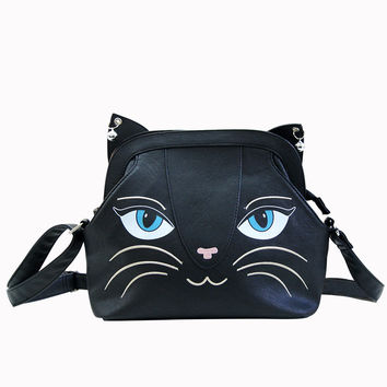 Gothic Emo Punk Rock Meow Black Cat Neko Crossbody Purse with Bells - Small