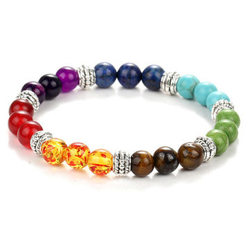 Colorful beaded chakra bracelet men with natural lava stone beads black and brown hologram women men jewelry