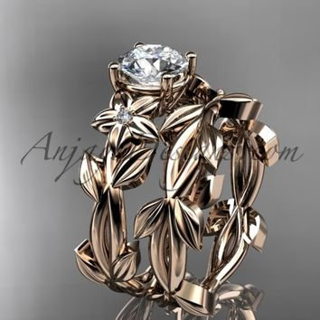 Leaf and Flower Wedding Sets 14k rose gold modern engagement set ADLR424S