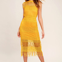 Moon River Cultivator Mustard Yellow Lace Midi Dress
