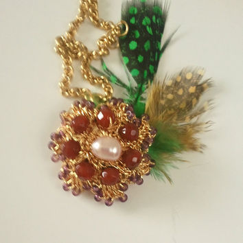Gold Crochet Lace Pendant with FeatherBayroliaMade to by sukran