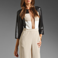BCBGMAXAZRIA Frances Woven Jumper in Pumice Combo from REVOLVEclothing.com