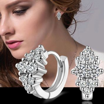 New Luxury Silver Plated Flower Stud Earrings with Zircon Stone Women Birthday Gift