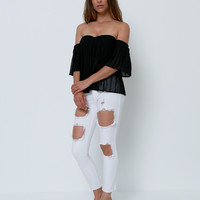 Name Game White Denim Skinny Jeans - Distressed