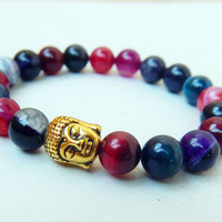 Agate stone buddha head stretch gemstone bracelet Natural gemstones beaded stretch bracelet Antique gold buddha bracelet unisex
