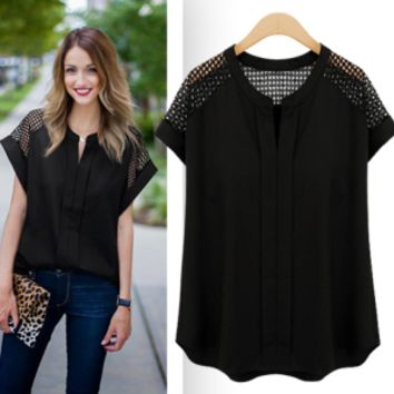 Womens Hollow Out Black Summer Shirt Top +Necklace